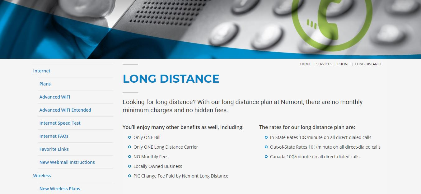 a close up of Nemont's long distance phone service page with breadcrumb navigation