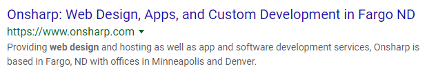 """a screenshot showing a google search result for """"website design."""" The search result is Onsharp's home page. From top to bottom, there is a title, url, and description of the site."""